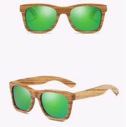 Drewniane okulary przeciwsłoneczne B02- zielone – zebrano