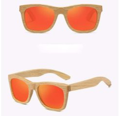 Drewniane okulary przeciwsłoneczne B03- pomarańczowe – dąb
