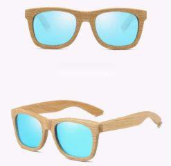 Drewniane okulary przeciwsłoneczne B03- niebieskie – dąb