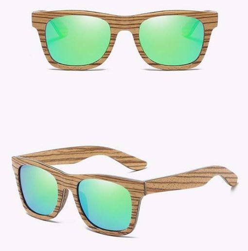 Drewniane okulary przeciwsłoneczne B05- zielone – zebrano