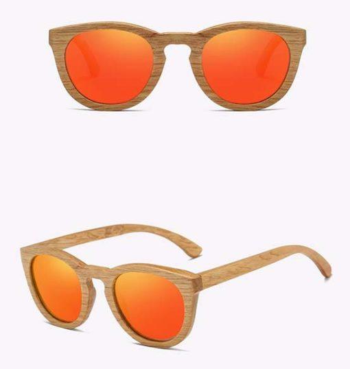 Drewniane okulary przeciwsłoneczne B08- pomarańczowe – dąb