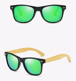 Drewniane okulary przeciwsłoneczne C02- zielone – bambus