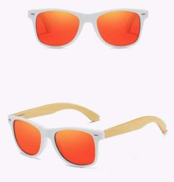 Drewniane okulary przeciwsłoneczne C03- pomarańczowe – bambus