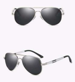 Okulary przeciwsłoneczne aluminiowe M03- srebrno-czarne