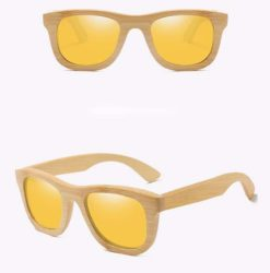 Drewniane okulary przeciwsłoneczne B06- żółte – bambus