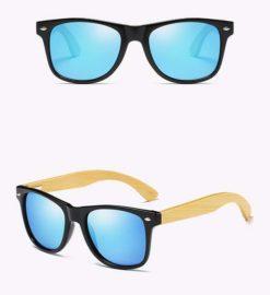 Drewniane okulary przeciwsłoneczne C02- niebieskie – bambus