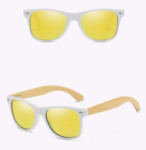 Drewniane okulary przeciwsłoneczne C03- żółte – bambus