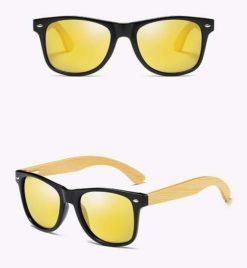 Drewniane okulary przeciwsłoneczne C02- żółte – bambus