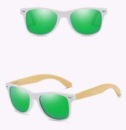 Drewniane okulary przeciwsłoneczne C03- zielone – bambus