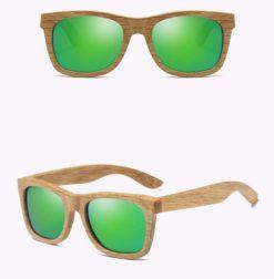 Drewniane okulary przeciwsłoneczne B03- zielone – dąb