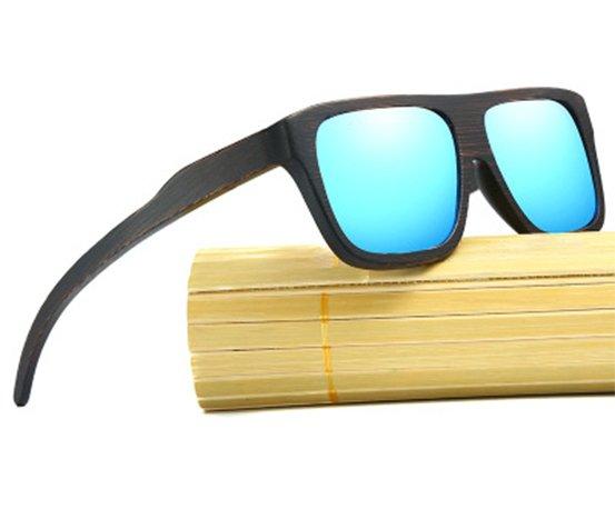 Drewniane okulary przeciwsłoneczne B04- niebieskie - bambus 7