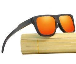 Drewniane okulary przeciwsłoneczne B04- pomarańczowe - bambus 2