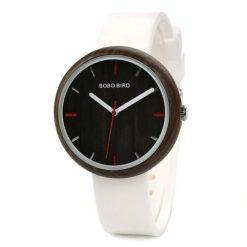 Drewniany biały zegarek Bobo Bird Round R28-2