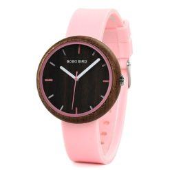 Drewniany różowy zegarek Bobo Bird Round R28-3