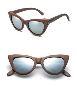 Drewniane okulary przeciwsłoneczne B09- srebrne – bambus