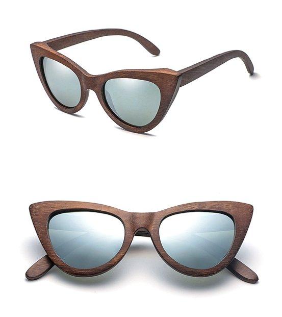Drewniane okulary przeciwsłoneczne B09- brązowe - bambus 10
