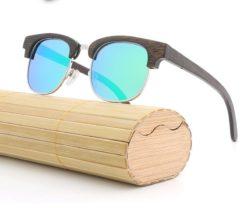 Drewniane okulary przeciwsłoneczne B11 -zielone – bambus
