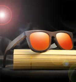 Drewniane okulary przeciwsłoneczne B07- pomarańczowe – bambus