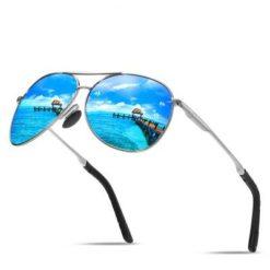Okulary przeciwsłoneczne aluminiowe M06 srebrno-niebieskie
