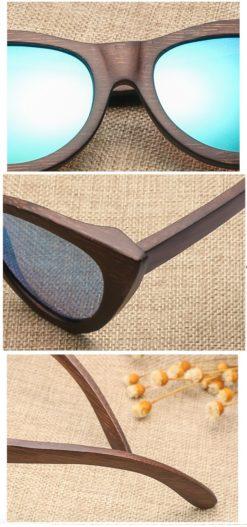 Drewniane okulary przeciwsłoneczne B09- brązowe - bambus 5