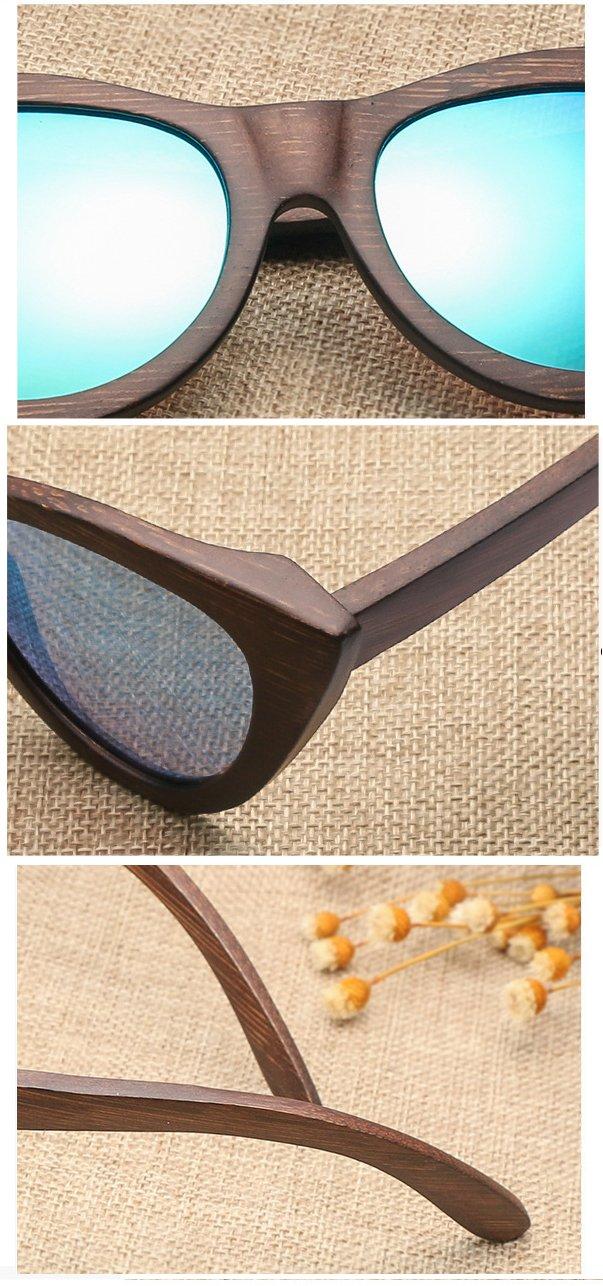 Drewniane okulary przeciwsłoneczne B09- brązowe - bambus 12