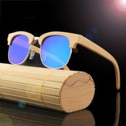 Drewniane okulary przeciwsłoneczne B10-niebieskie – bambus