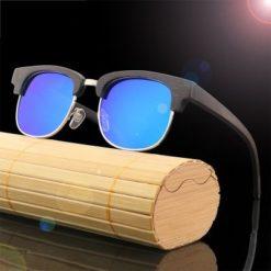 Drewniane okulary przeciwsłoneczne B11-niebieskie – bambus