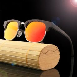 Drewniane okulary przeciwsłoneczne B11 – pomarańczowe – bambus