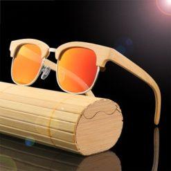 Drewniane okulary przeciwsłoneczne B10-pomarańczowe – bambus