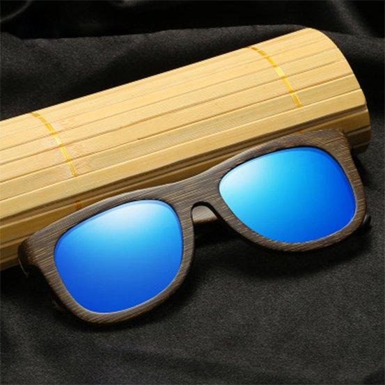 Drewniane okulary przeciwsłoneczne B07- niebieskie - bambus 15