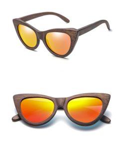 Drewniane okulary przeciwsłoneczne B09- pomarańczowe – bambus