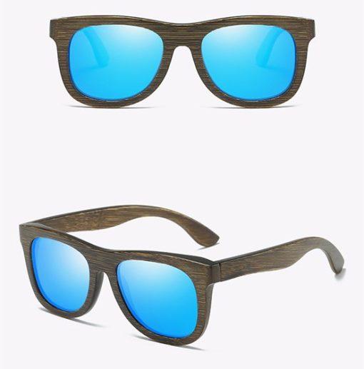 Drewniane okulary przeciwsłoneczne B07- niebieskie – bambus