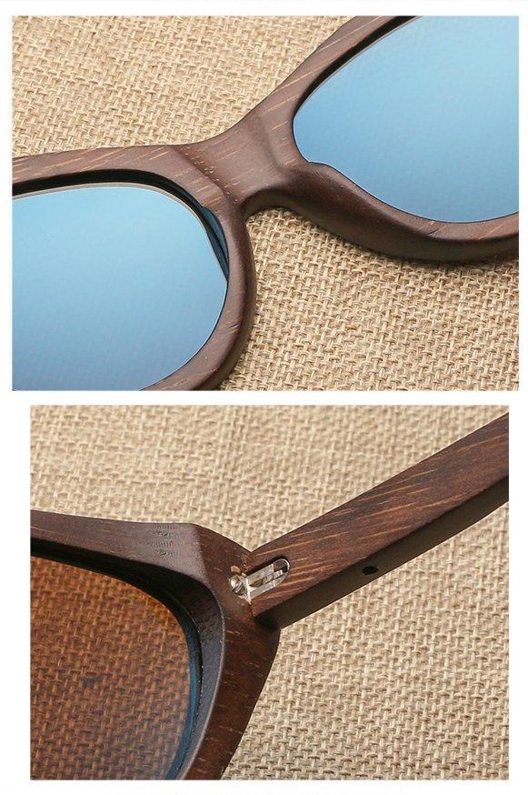 Drewniane okulary przeciwsłoneczne B09- brązowe - bambus 11