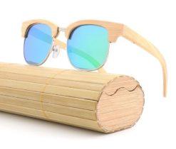 Drewniane okulary przeciwsłoneczne B10-zielone – bambus