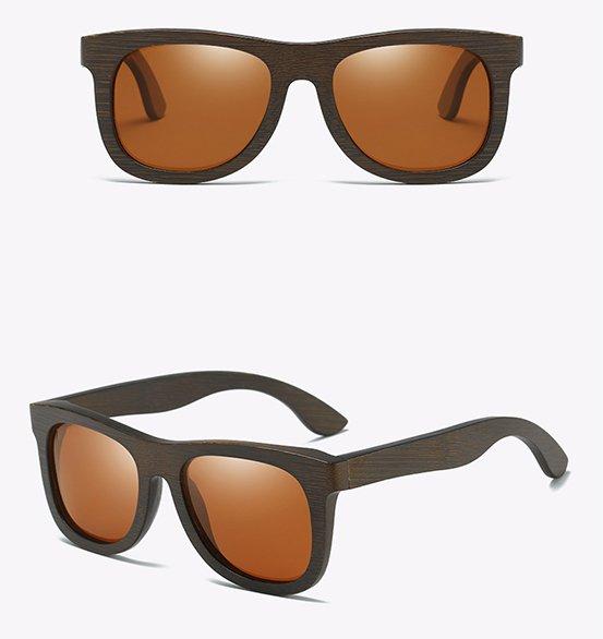 Drewniane okulary przeciwsłoneczne B07- brązowe - bambus 14