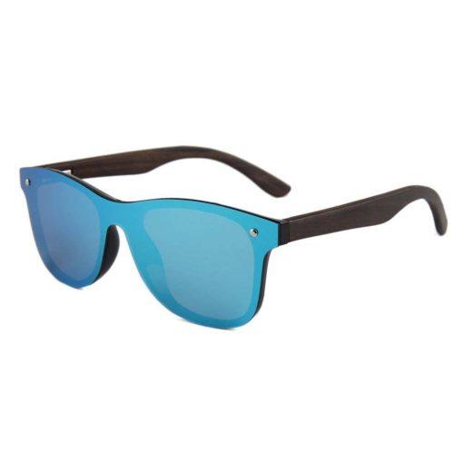 okulary drewniane lustrzanki c04 niebieskie