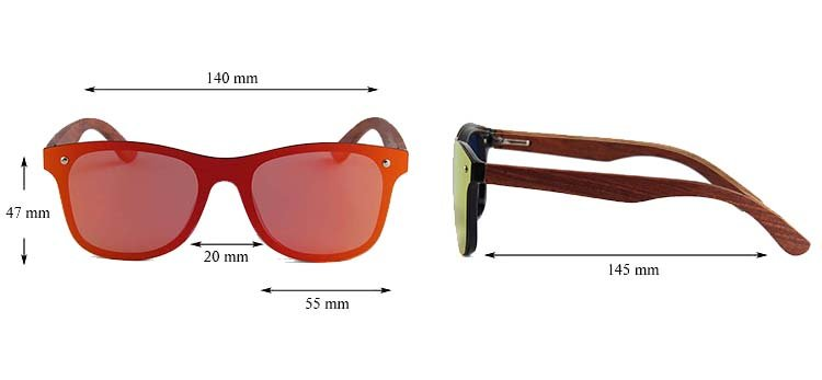 Drewniane okulary przeciwsłoneczne C04- pomarańczowe - palisander 4