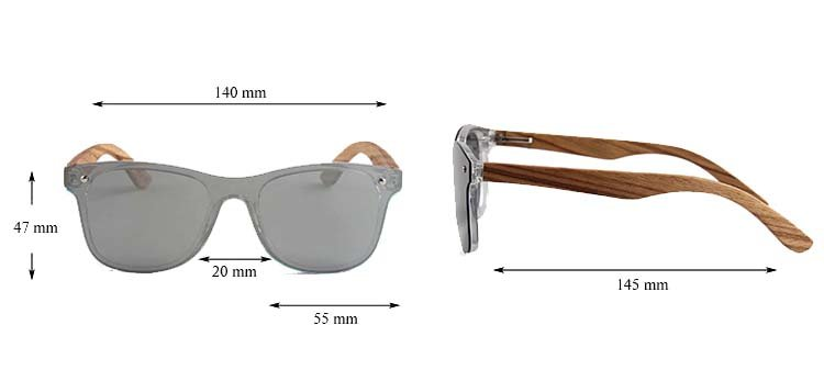 Drewniane okulary przeciwsłoneczne C04- srebrne - zebrano 3
