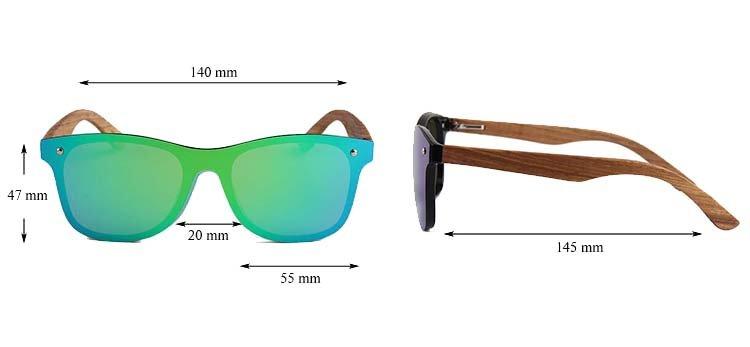 Drewniane okulary przeciwsłoneczne C04- zielone - zebrano 4