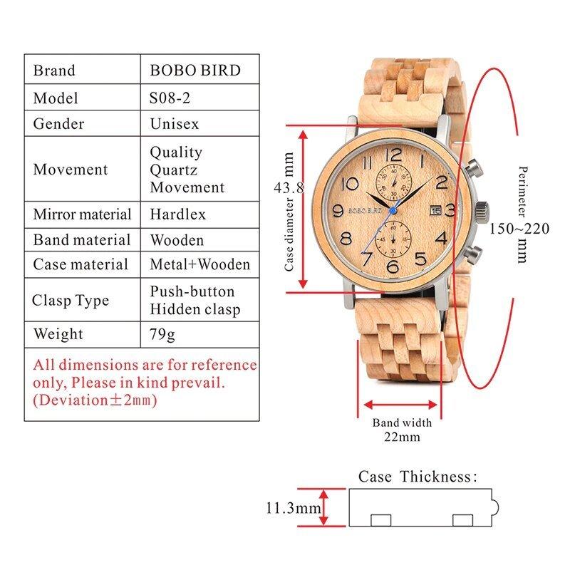 Drewniany zegarek Bobo Bird Premium S08-2 parametry