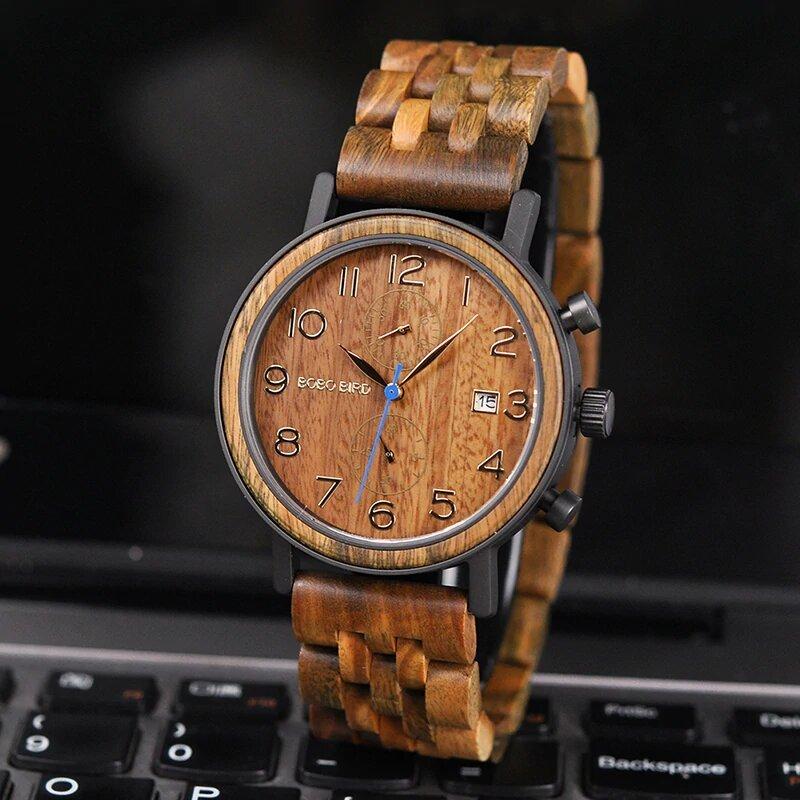 Drewniany zegarek Bobo Bird Premium S08-3 przód
