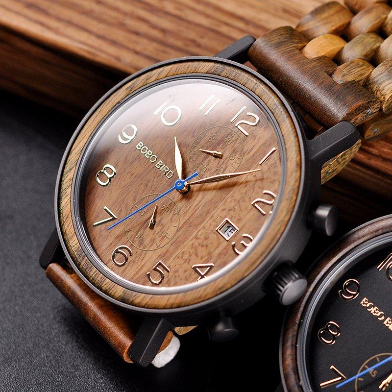 Drewniany zegarek Bobo Bird Premium S08-3 tarcza