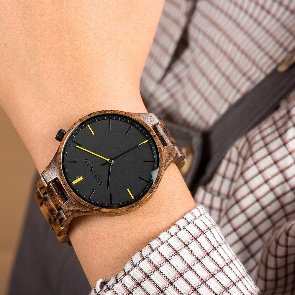 Drewniany zegarek Bobo Bird Slim S27-2 na ręce