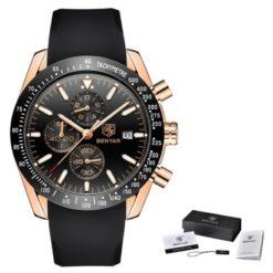 Zegarek Benyar Speedmaster złoty czarny silikonowy pasek