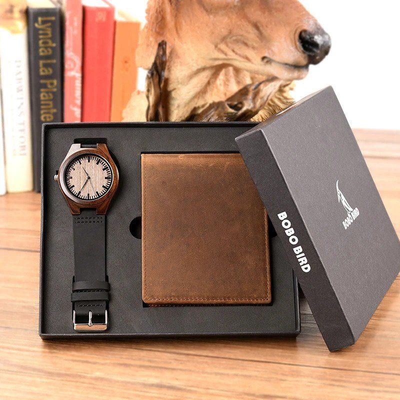 Zegarek drewniany Bobo Bird D26 +portfel 10