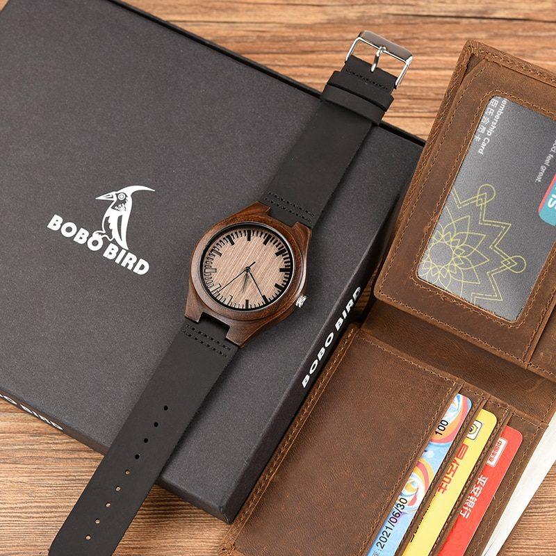 Zegarek drewniany Bobo Bird D26 +portfel 11