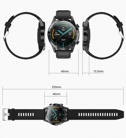Smartwatch sportowy Health Pro z Pomiarem Temperatury, Ciśnienia, Pulsoksymetrem