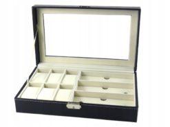 Pudełko szkatułka etui na zegarki i okulary przeciwsłoneczne