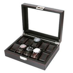 Pudełko szkatułka etui na zegarki karbon 12szt