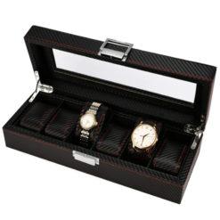 Pudełko szkatułka etui na zegarki karbon 6szt
